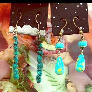 🌟🌟STUNNING SET OF (2) PAIRS TURQUOISE EARRIN🌟🌟